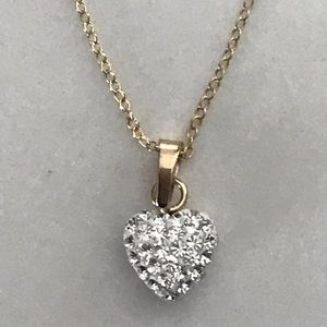 Jewelry - 10k GOLD plated Heart Pave Necklace 925 silver
